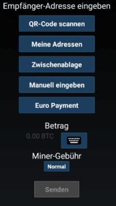 Mycelium Bitcoin senden