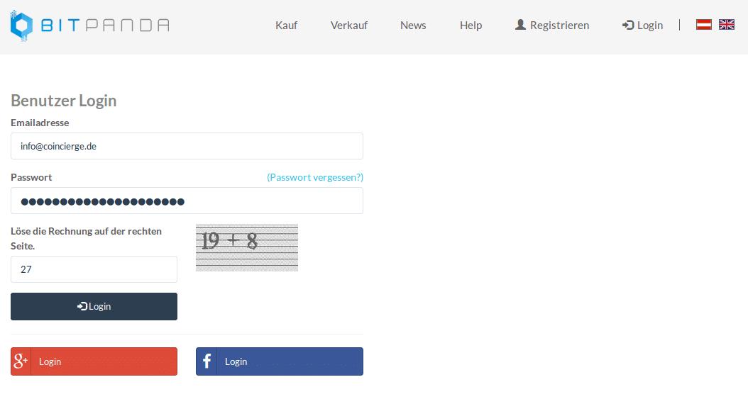 Bei Bitpanda registrieren: E-Mail