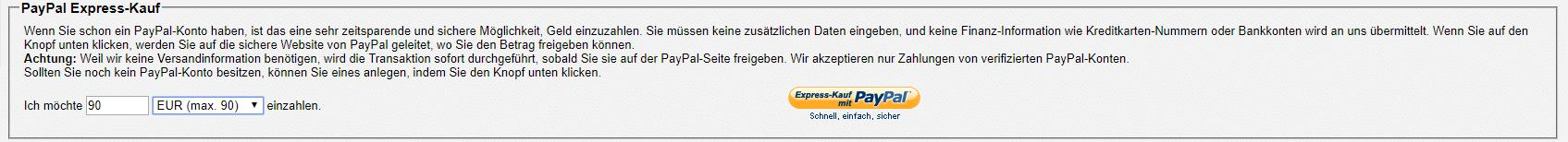 Bitcoin mit PayPal Expresskauf einkaufen