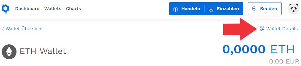 Ethereum bei Bitpanda einzahlen - Wallet Details