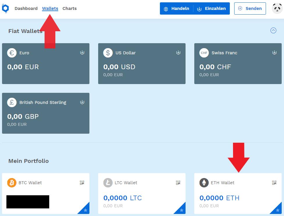 Ethereum bei Bitpanda einzahlen mit dem Menüpunkt Wallets