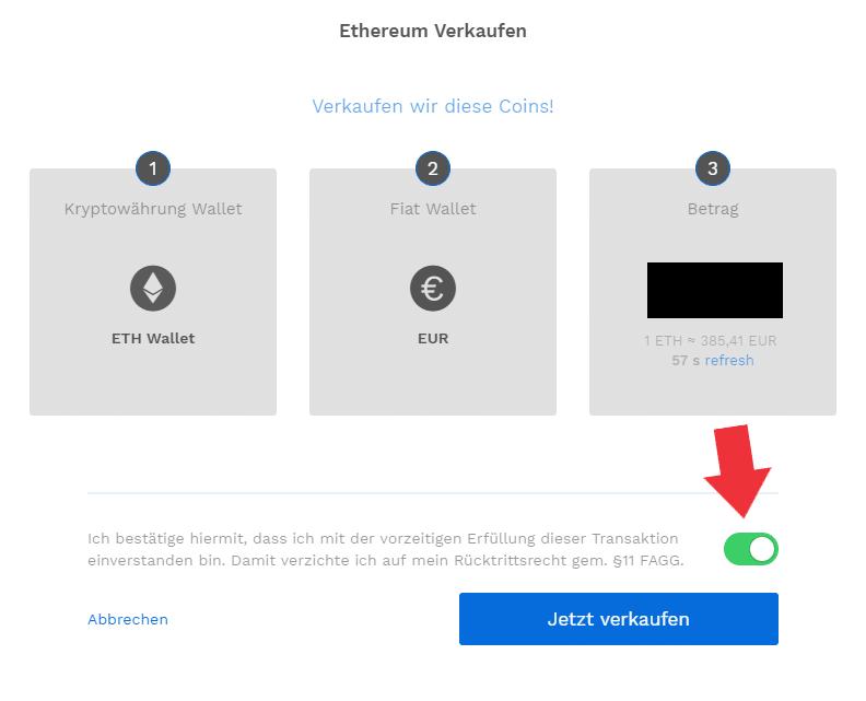 Ethereum bei Bitpanda verkaufen