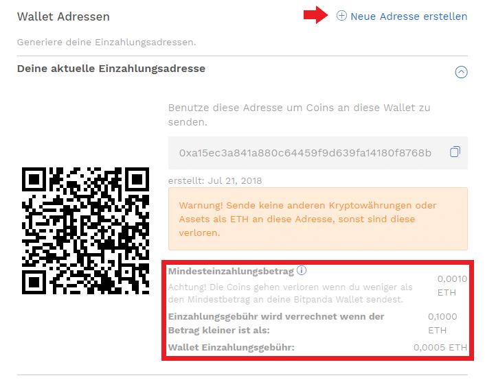 Neue Ethereum Adresse bei Bitpanda erstellen
