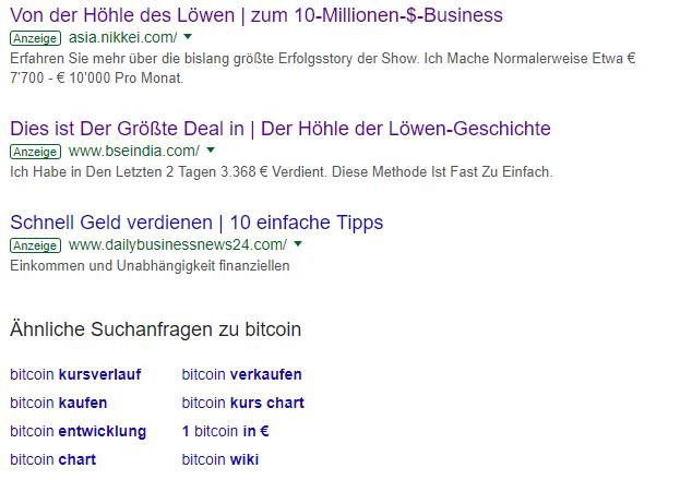 Google Ergebnisse für Bitcoin und Höhle der Löwen.