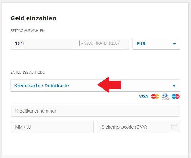 Bei eToro Geld mit Kreditkarte einzahlen
