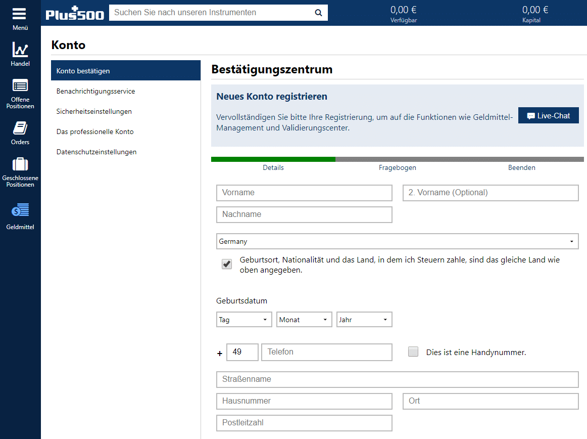 Plus500: Konto registrieren