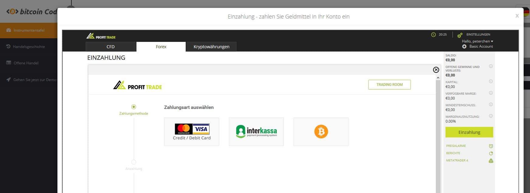 Bitcoin Code Einzahlung