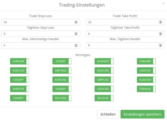 Bitcoin Code Trading Einstellungen