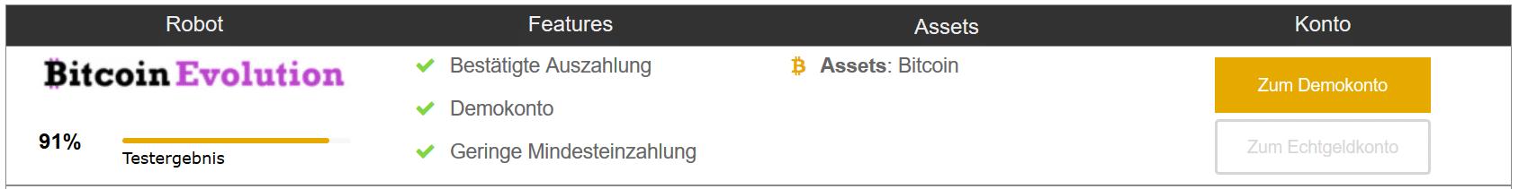BitcoinEvolution Testergebnis - 91% im Test - Features: Bestätigte Auszahlung, Demokonto, Geringe Mindesteinzahlung - Assets: Bitcoin