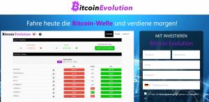 BitcoinEvolution Landingpage mit Anmeldeformular