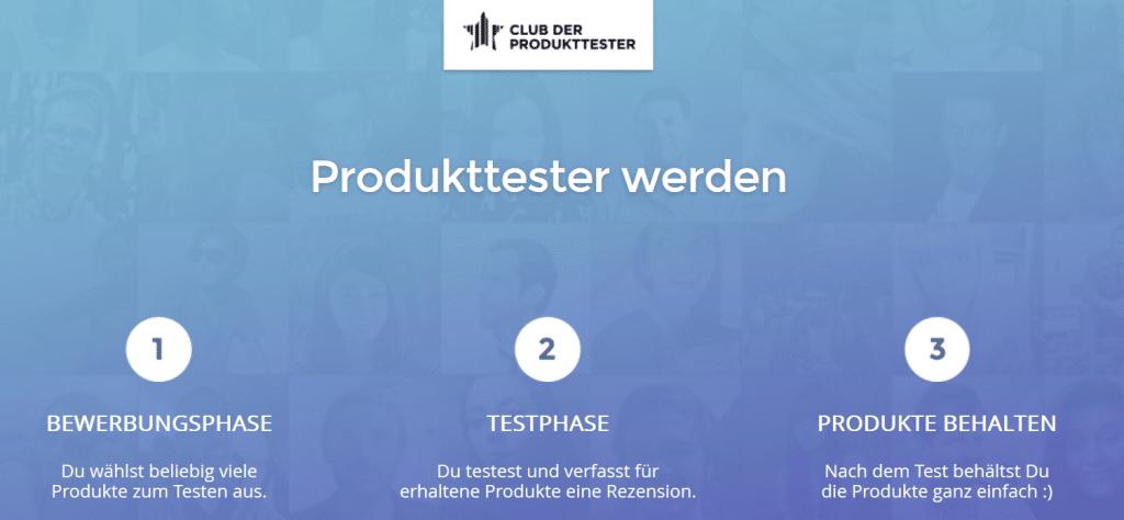 Club der Produkttester - Produkttester werden - Landingpage