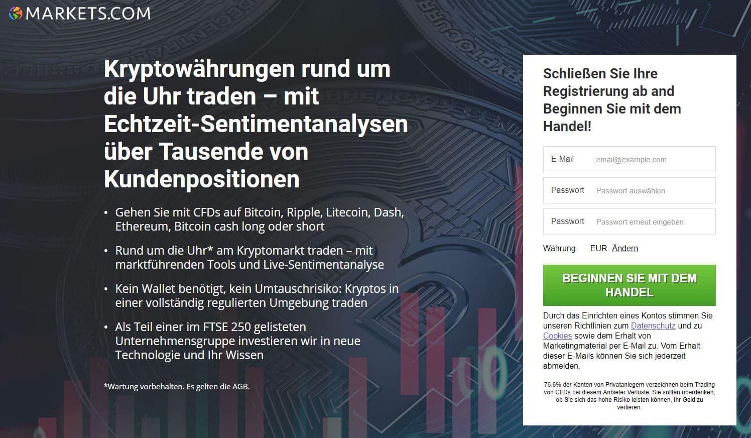 Kryptowährungen rund um die Uhr traden - Markets.com
