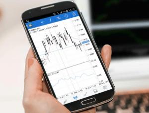 Chartbetrachtung am Handy mit Aktien Apps