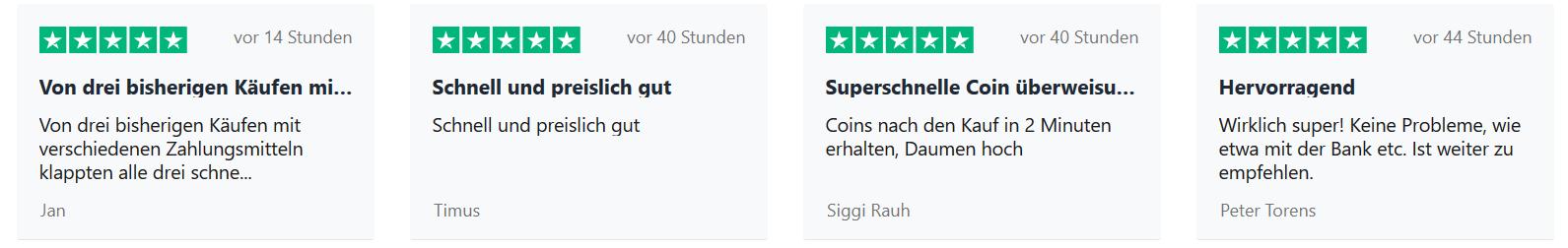Anycoin Erfahrungen: 4 letzte Bewertungen mit jeweils 5 von 5 Sternen.