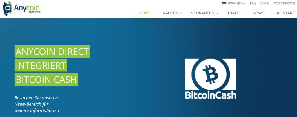 Anycoin Direct integriert jetzt auch Bitcoin Cash: Landingpage.