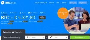Die Startseite von BTCDirect