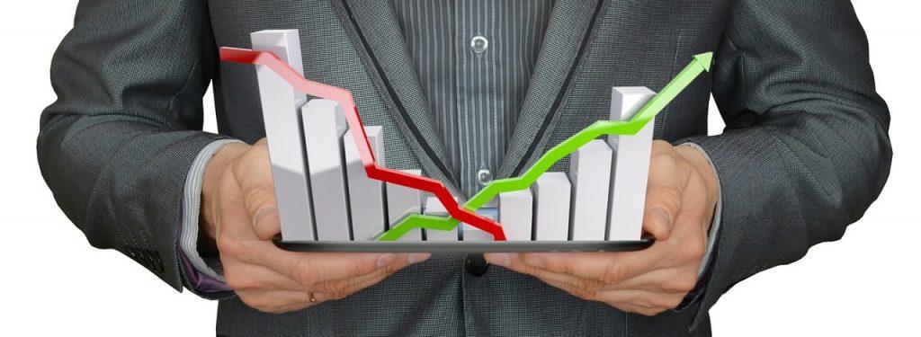Aktien-Fall sowie Aktien-Steigung Symbolisiert mit einem Balkendiagramm