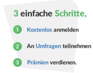3 einfache Schritte mit Meinungsstudie - 1. Kostenlos anmelden. - 2. An Umfragen teilnehmen. 3. Prämien verdienen.