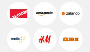 Auszahlungsmöglichkeiten nach Ausfüllen einer Meinungsstudie. Hierzu gehören Amazon, Zalando, H&M, Eventim sowie Obi