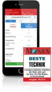 Auszeichnung von Focus Money von 20 CFD-Broker mit der besten Technik Auszeichnung an IG Markets