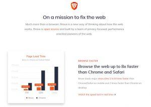 Brave Webseite und Versprechen
