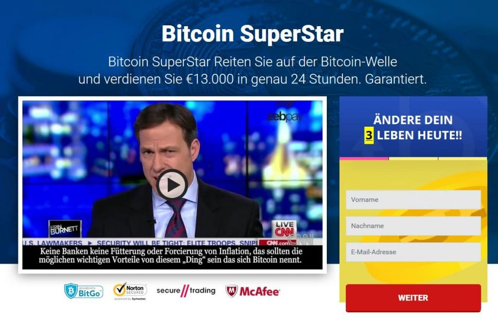 Bitcoin Superstar Landing Page