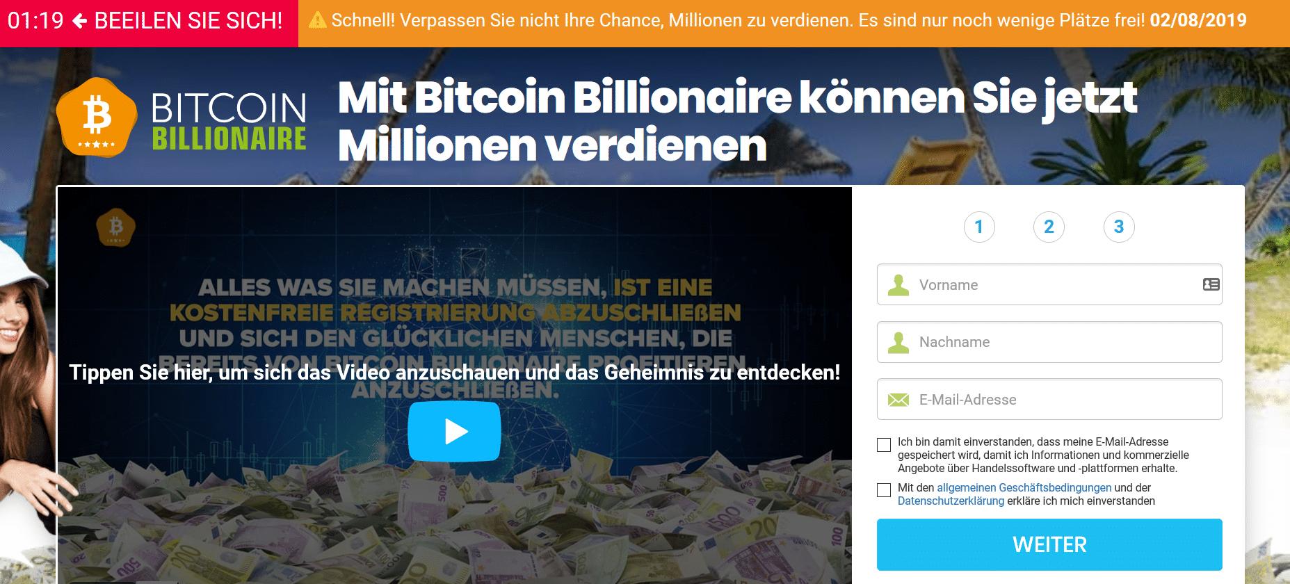 Mit Bitcoin Billionaire können Sie jetzt Millionen verdienen - Bitcoin Billionaire Landingpage