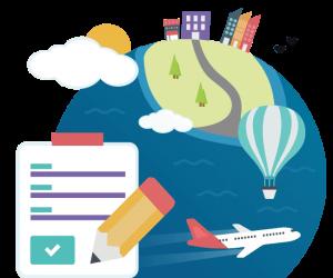 Grafik der Welt mit Block, Stift, Ballon und Flugzeug