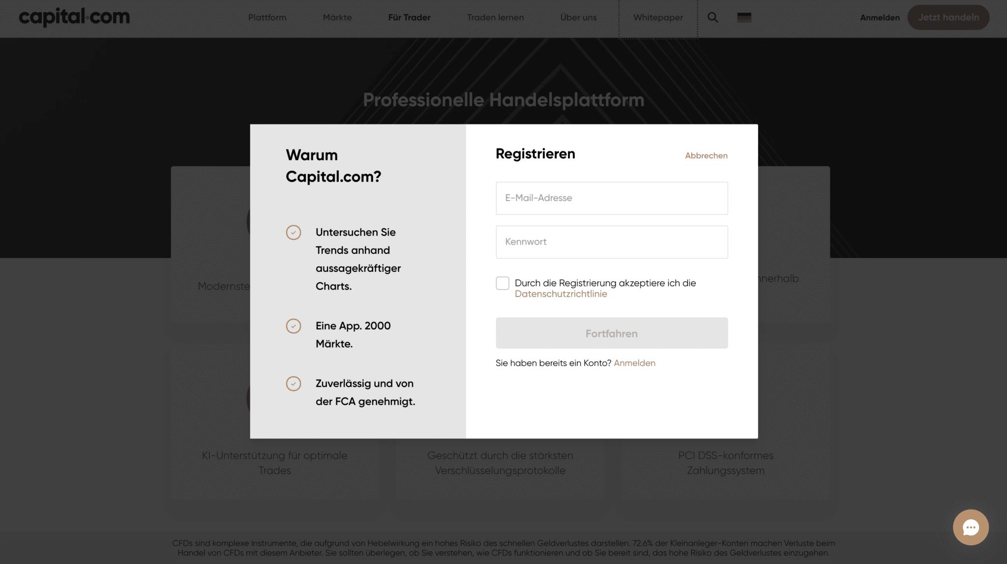 Capital.com Anmeldung