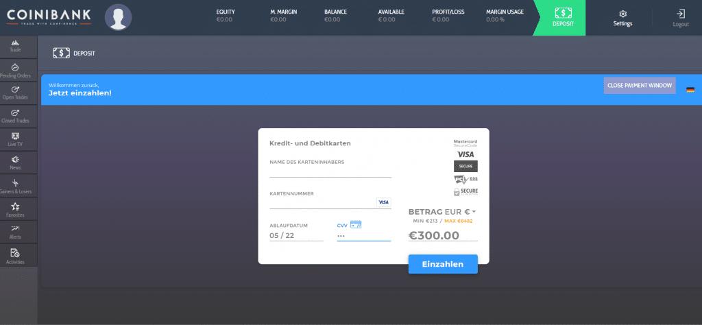 Coinibank Einzahlung Kreditkarte