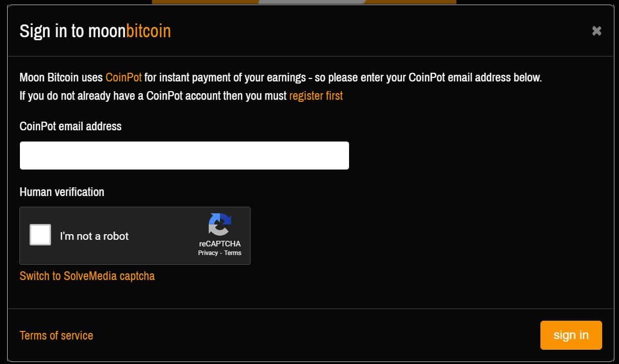 Moon Bitcoin Signin