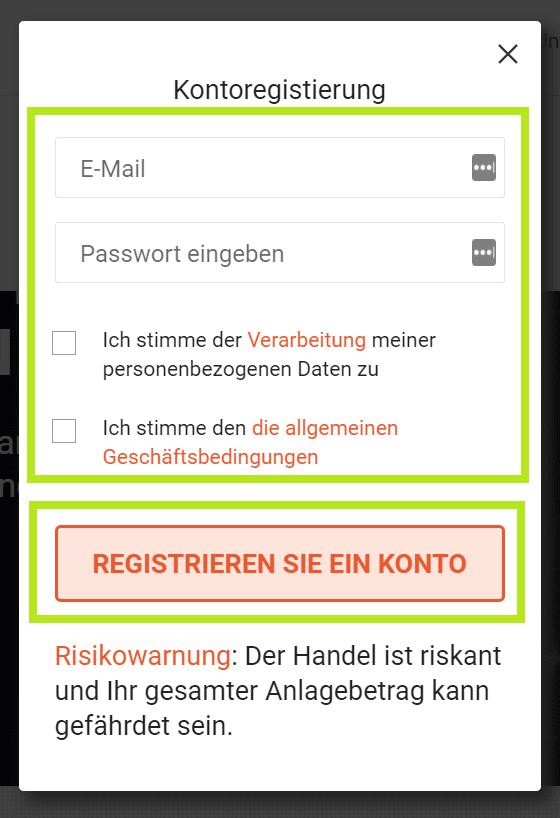 Libertex registrieren Formular