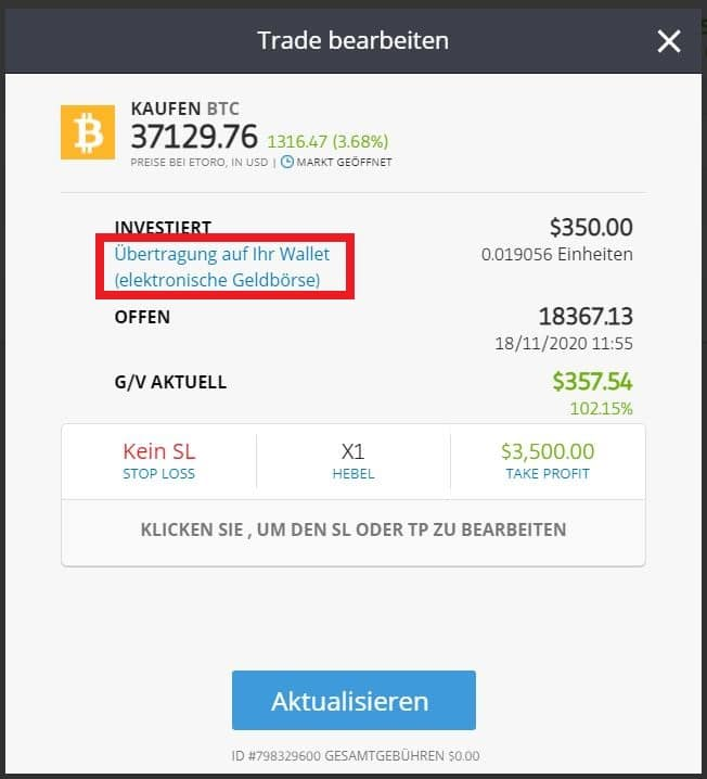 eToro Bitcoin Wallet senden