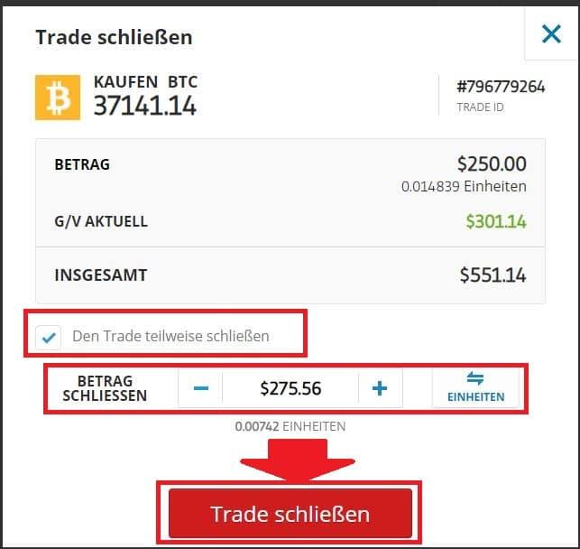 eToro Bitcoin auszahlen Trade teilweise schließen