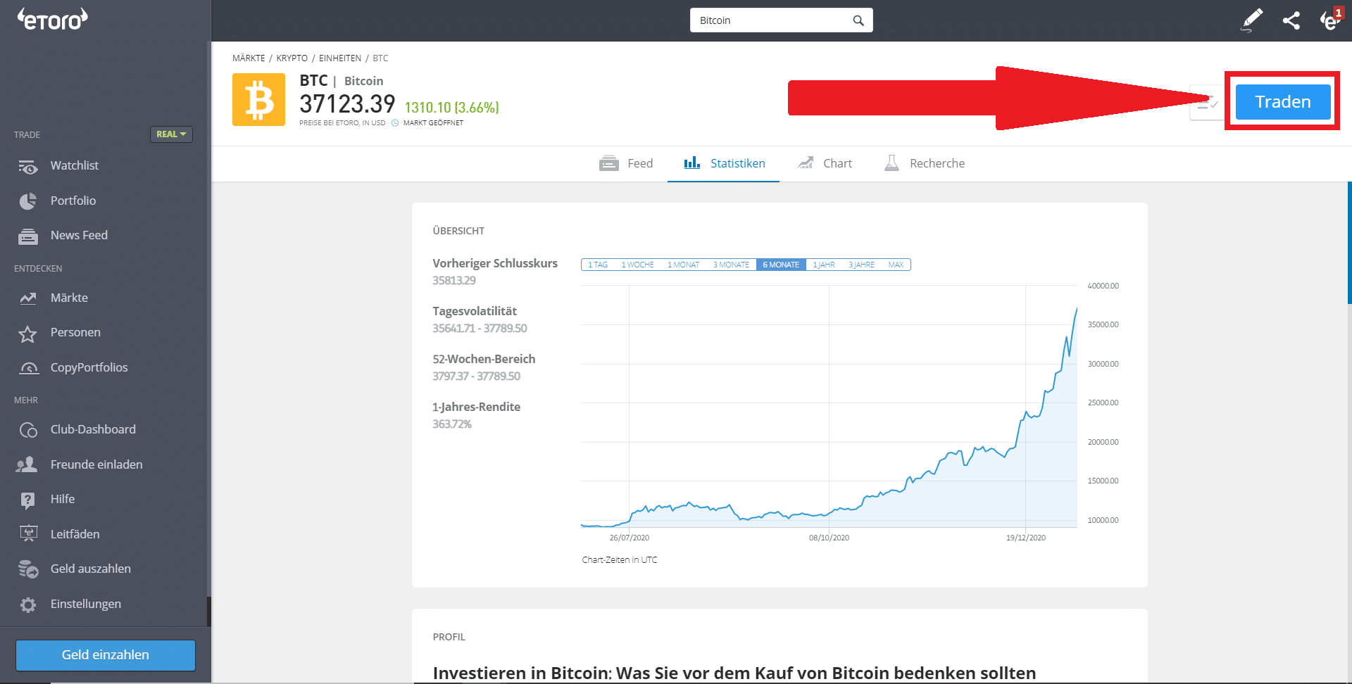 eToro Bitcoin kaufen traden