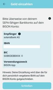 Bison App Einzahlung