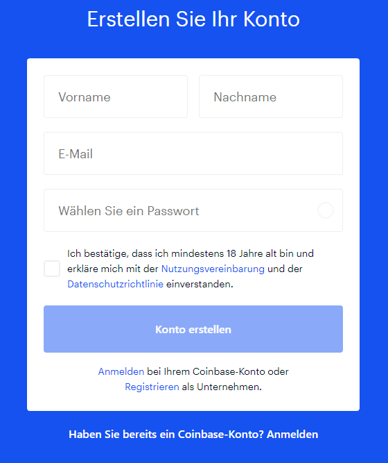 coinbase registrierung