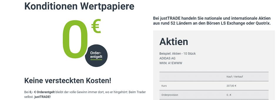 justTrade Gebühren