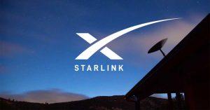 Starlink Bild mit Satelliten