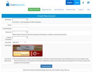 Coinpayments Schritt 1 Neues Konto einrichten