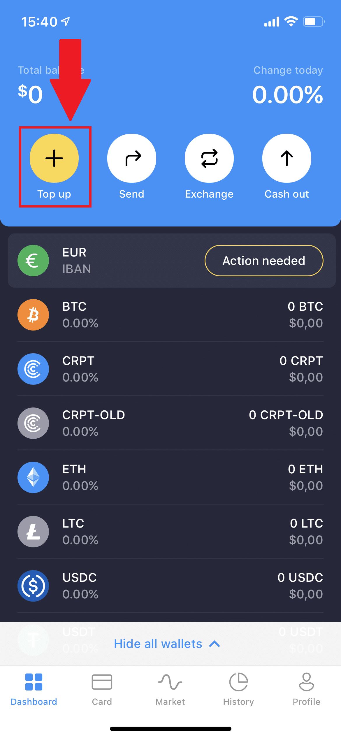 Crypterium-Bitcoin-einzahlen