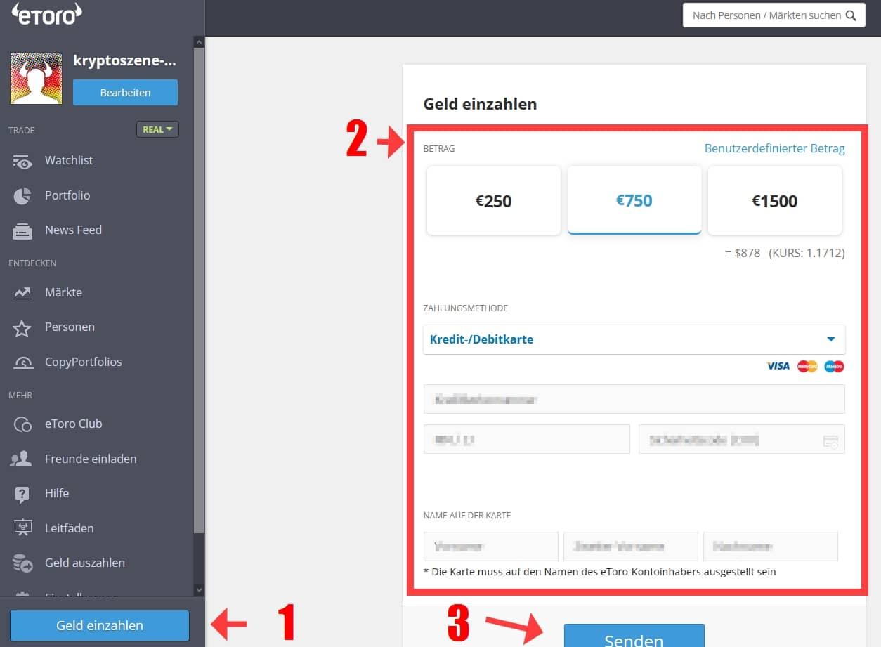 Schritt 2: Einzahlung auf das eToro-Konto