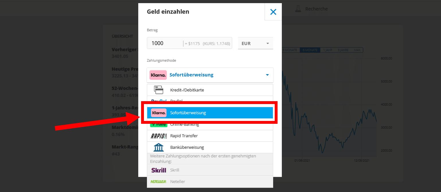 Bitcoin mit Sofortüberweisung kaufen bei eToro