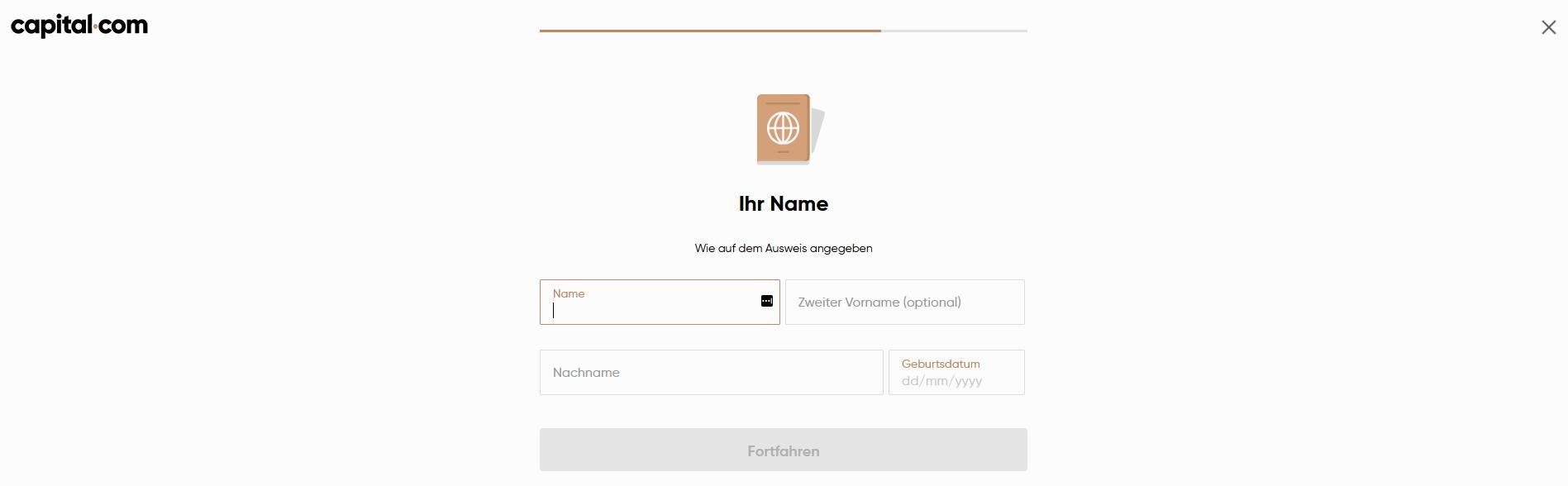 Capital.com Verifizierung