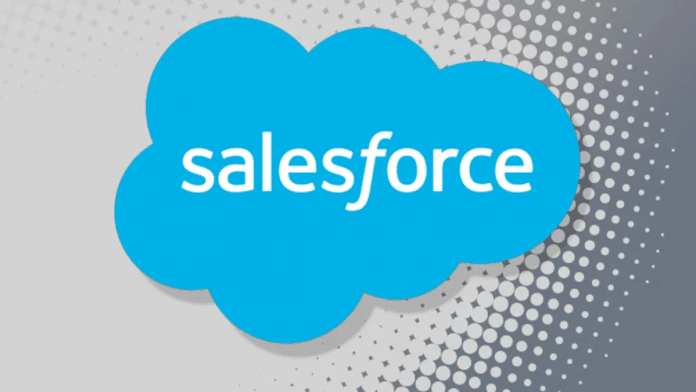 Salesforce Logo auf grauer Wand