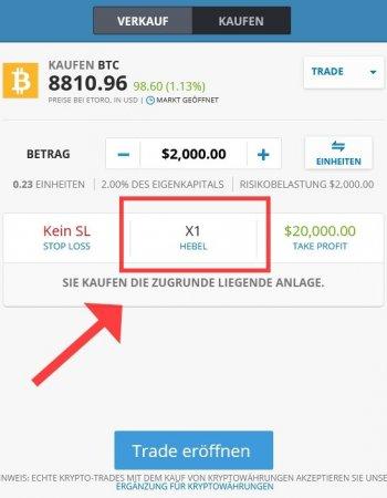 Bitcoin kaufen mit Hebel bei Etoro